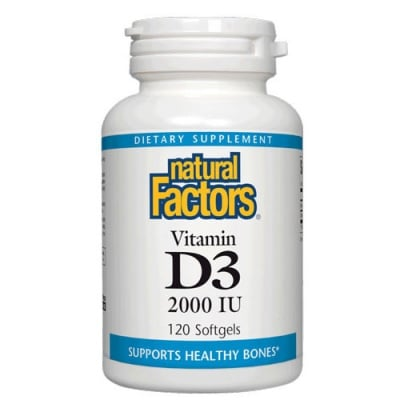 Vitamin D3 2000 IU 120 softgels Natural Factors / Витамин Д3 2000 IU 120 меки капсули Натурал Факторс