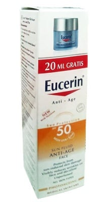 Eucerin Set Sun anti - age face fluid SPF 50+ 50 ml + Night face cream 20 ml / Еуцерин Комплект Слънцезащитен анти-ейдж флуид за лице SPF 50+ 50 мл. + Нощен крем за лице 20 мл.