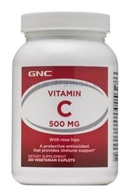 ВИТАМИН С С ШИПКИ каплети 500 мг * 250 GNC
