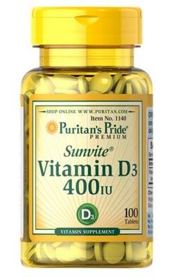 Puritan's Pride Vitamin D3 400 IU 100 tablets / Пуританс Прайд Витамин Д3 400 IU 100 таблетки