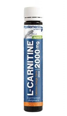 L-Carnitine 2000 mg 20 ml. 12 monodoses MYELEMENTS / L-Карнитин с вкус на портокал 2000 мг. 20 мл. 12 дози MYELEMENTS