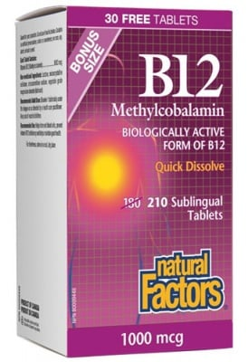 Vitamin B 12 1000 mcg 180 + 30 sublingual tablets Natural Factors / Витамин Б 12 1000 мкг. 180 + 30 сублингвални таблетки Натурал Факторс