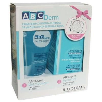 Bioderma ABC derm set moisturizing lotion 200 ml + ABCDerm shower gel 200 ml / Биодерма АВС Дерм комплект хидратиращо мляко 200 мл + Мек измиващ гел 200 мл