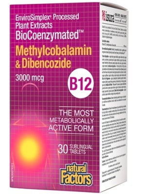 Vitamin B12 3000 mcg 30 sublingual tablets Natural Factors / Витамин Б12 3000 мкг. 30 сублингвални таблетки Натурал Факторс