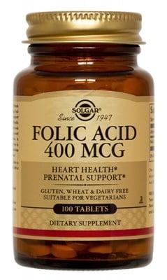 Folic acid 400 mcg 100 tablets Solgar / Фолиева киселина 400 мкг. 100 таблетки Солгар