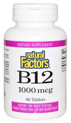 Vitamin B 12 1000 mcg 60 tablets Natural Factors / Витамин Б 12 1000 мкг. 60 таблетки Натурал Факторс