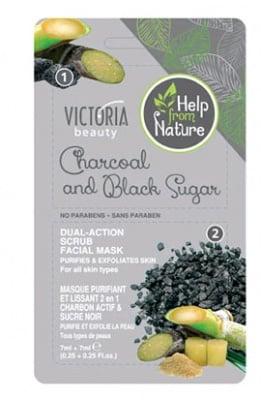 Victoria beauty Dual - Action scrub facial mask with charcoal and black sugar 7 ml. 2. / Виктория бюти Почистваща и ексфолираща маска за лице с активен въглен и черна захар 7 мл. 2