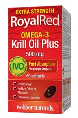 Royalred Omega-3 krill oil 500 mg 60 capsules Webber Naturals / Масло от крил Омега-3 роял ред 500 мг. 60 капсули Уебър Натуралс