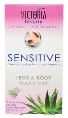 Victoria beauty Wax strips sensitive for legs and body 20 / Виктория бюти Депилиращи ленти за тяло сензитив с екстракт от алое вера 20
