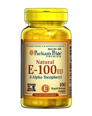 Puritan`s pride Natural vitamin E 100 IU 100 capsules / Пуританс прайд Витамин E натурален 100 IU 100 капсули