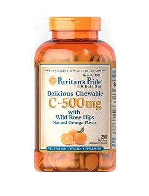 Puritan`s pride Vitamin C 500 mg with rose hips 250 chewable tablets / Пуританс прайд Витамин Ц 500 мг + шипка 250 дъвчащи таблетки със захар