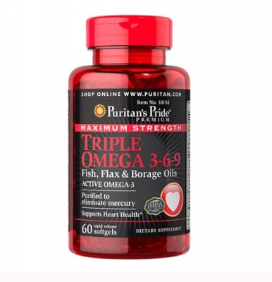Puritan`s Pride maximum strength triple omega 3-6-9 60 capsules / Пуританс прайд максимум стренгт трипъл омега 3-6-9 60 капсули