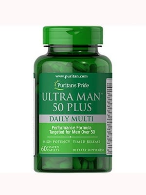 Puritan`s Pride ultra man 50+ daily multy 60 caplets / Пуританс прайд ултра мен 50+ мултивитамини за мъже 60 каплети