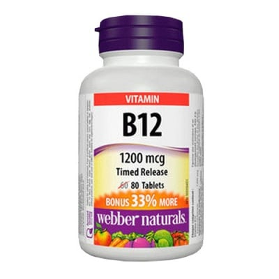 Vitamin B12 Timed Release 1200 mcg 80 tablets Webber Naturals / Витамин Б 12 (Цианкобаламин) 1200 мкг. 80 таблетки Уебър Натуралс