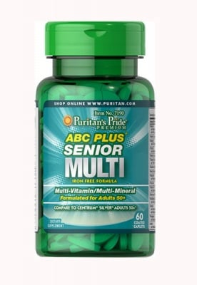 Puritan`s Pride ABC Plus senior multi 50+  60 caplets / Пуританс Прайд ABC плюс синиър мултивитамини и минерали за мъже 50+ 60 каплети