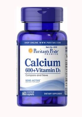 Puritan`s Pride Calcium 600 + vitamin D3 60 caplets / Пуританс Прайд Калциев карбонат и витамин Д3 60 каплети