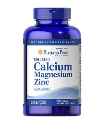 Puritan's Pride Calcium, Magnesium & Zinc 250 caplets / Пуританс Прайд Калций, магнезий, Цинк 250 каплети