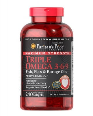 Puritan's Pride Maximum strenght triple omega 3-6-9 240 capsules / Пуританс Прайд Максимум Стренгт трипъл омега 3-6-9  240 капсули