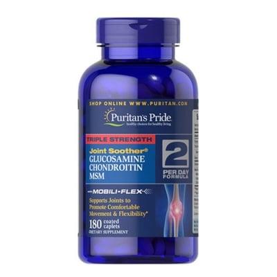 Puritan`s Pride Triple strength glucosamine, chondroitin & MSM 180 caplets / Пуританс Прайд Трипъл стрейнгт глюкозамин, хондроитин и МСМ 180 каплети