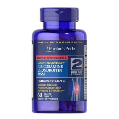 Puritan`s Pride Triple strength glucosamine, chondroitin & MSM 60 caplets / Пуританс Прайд Трипъл стрейнгт глюкозамин, хондроитин и МСМ 60 каплети