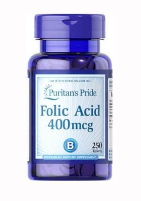 Puritan`s Pride Folic acid 400mcg 250 tablets / Пуританс Прайд Фолиева киселина 400 мкг 250 таблетки