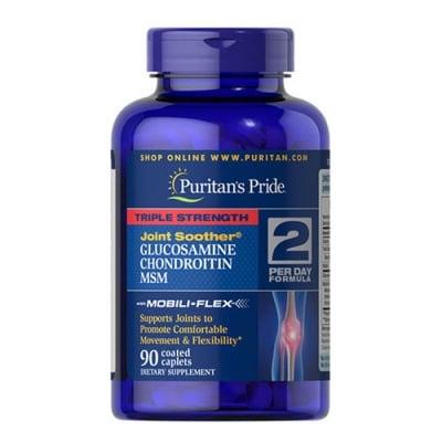 Puritan`s Pride Triple strength glucosamine, chondroitin & MSM 90 caplets / Пуританс Прайд Трипъл стрейнгт глюкозамин, хондроитин и МСМ 90 каплети