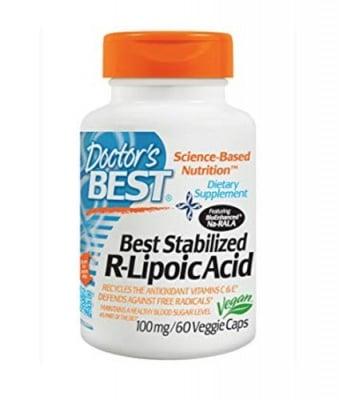 Doctor`s best Stabilized R-lipoic acid 100 mg 60 capsules / Доктор`с бест R-липоева киселина 100 мг 60 капсули