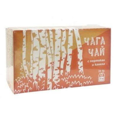 Chaga tea with orange and cinnamon bags 24 filter / Чай филтър чага с портокал и канела 24 филтърни пакетчета