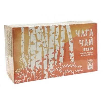 Chaga tea autumn - apple, pear, fig leaves 24 filter bags / Чай филтър чага есен - ябълка, круша, лист от смокиня 24 филтърни пакетчета