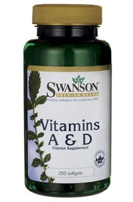 Swanson Vitamin A 5000 IU and vitamin D 400 IU 250 softgels / Суонсън Витамин А 5000 IU и витамин Д 400  IU 250 капсули