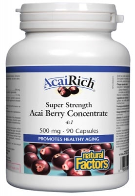 Acai Berry concentrate 4:1 500 mg 90 capsules / Акай Рич 500 мг. 90 капсули Натурал Факторс