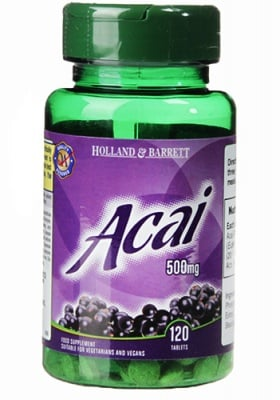 Acai with 500 mg 120 tablets Holland & Barrett / Акай Бери 500 мг 120 таблетки Holland & Barrett