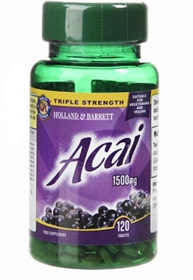 Acai with 1500 mg 120 tablets Holland & Barrett / Акай Бери 1500 мг 120 таблетки Holland & Barrett