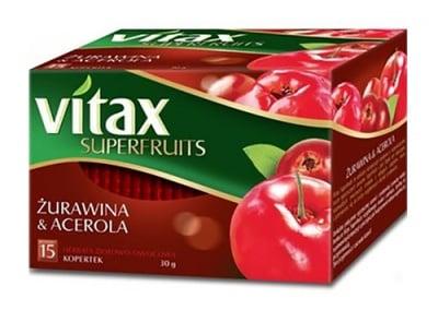 Vitax tea Superfruits cranberry and acerola 15 filter packets / Витакс чай Суперфрут червена боровинка и ацерола 15 филтърни пакетчета
