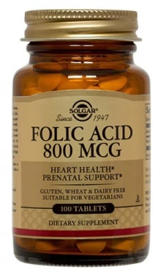 Folic acid 800 mcg 100 tablets Solgar / Фолиева киселина 800 мкг. 100 таблетки Солгар