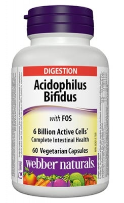 Acidophilus Bifidus with FOS 60 capsules Webber Naturals / Ацидофилус Бифидус и фруктоолигозахариди 60 капсули Уебър Натуралс