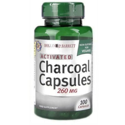 Activated Charcoal 260 mg 100 capsules Holland & Barrett / Активен въглен 260 мг. 100 капсули Holland & Barrett