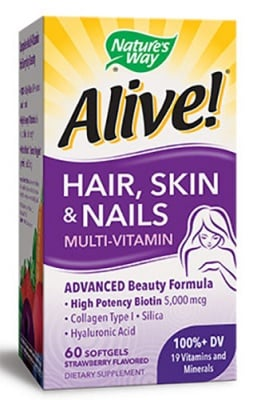 Alive Hair, skin, nails 60 capsules Nature's Way / Алайв Коса, кожа, нокти 60 капсули Nature's Way