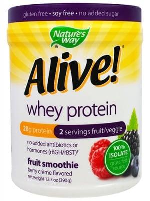 Alive Whey protein berry flavored 390 g Nature's Way / Алайв Суроватъчен протеин изолат горски плодове 390 гр. Nature's Way