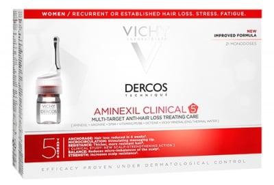 Vichy Dercos Aminexil clinical 5 anti-hair loss 21 monodoses / Виши Деркос Aminexil clinical 5 ампули против косопад за жени 21 броя