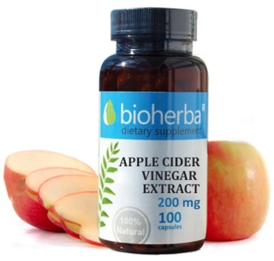 Bioherba Apple cider vinegar extract 200 mg 100 capsules / Биохерба Ябълков оцет 200 мг. 100 капсули
