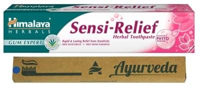 Himalaya Set Sensi-Relief Toothpaste 75 ml. + Bamboo toothbrush / Хималая Комплект Паста за чувствителни зъби без флуорид 75 мл. + Бамбукова четка за зъби