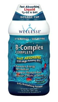 Vitamin B complex complete liquid solution 480 ml WELLESSE / Течен Витамин Б комплекс разтвор боровинка и нар 480 мл. WELLESSE