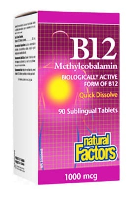 Vitamin B 12 1000 mcg 90 sublingual tablets Natural Factors / Витамин Б 12 1000 мкг. 90 сублингвални таблетки Натурал Факторс