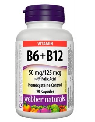 Vitamin B6 + Vitamin B12 + folic acid 90 capsules Webber Naturals / Витамин Б6 + Витамин Б12 + фолиева киселина 90 капсули Уебър Натуралс