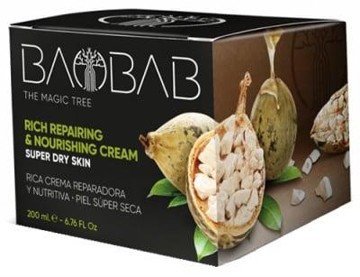 Baobab rich repairing & nourishing cream 200 ml. / Крем за много суха кожа за лице, тяло, ръце и крака с масло от Баобаб 200 мл.