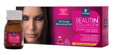 Beautin Collagen with Magnesium recharge 30 ml. 5 monodose / Бютин Колаген Магнезий разтвор с вкус на манго и пъпеш 30 мл. 5 дози
