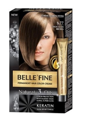 Belle'fine hair color cream 6.77 chocolate brown / Бел Файн боя за коса 6.77 шоколадово кафяв