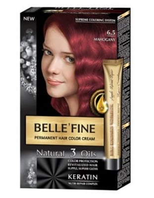 Belle'fine hair color cream 6.5 mahogany / Бел Файн боя за коса 6.5 махагон