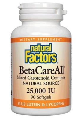 Beta Care All 25 000 IU 90 capsules Natural Factors / Бета кеър ол 25 000 IU 90 капсули Натурал Факторс